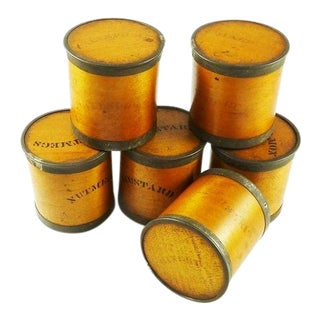 Antique Wood Spice Boxes Set of Six Containers Manufactured by Patent Package Co Allspice Cinnamon Ginger For Sale