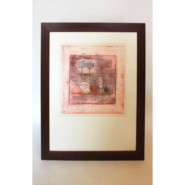 Wood Late 20th Century Vintage Louttie Modern Still-Life Etching Print For Sale - Image 7 of 7