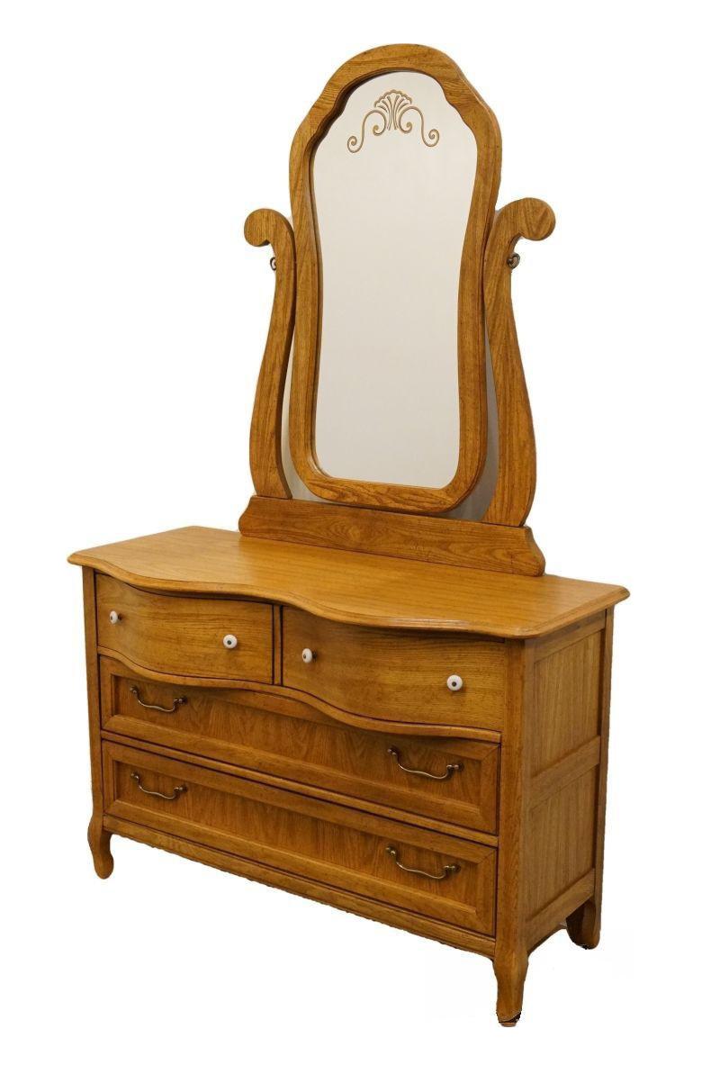 Pulaski Furniture Keepsakes Collection Oak Dresser Wishbone Mirror