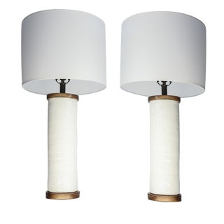Two White Ceramic Cylinder Shape Lamps For Sale