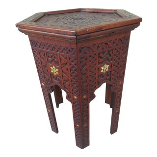 Vintage Moorish or Anglo-Indian Table With Inlay For Sale