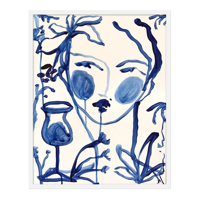 "Medium ""Flowers and Wine Indigo"" Print by Leslie Weaver, 25"" X 32"" For Sale"