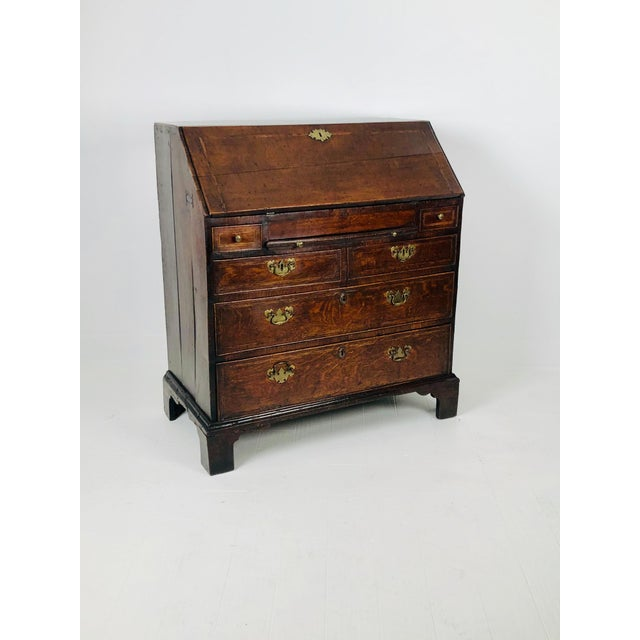 Early Georgian English Oak Slant Front Desk, Circa 1740 For Sale - Image 11 of 11