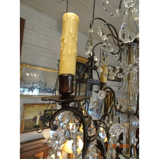 Small Vintage French Crystal Chandelier For Sale - Image 9 of 13
