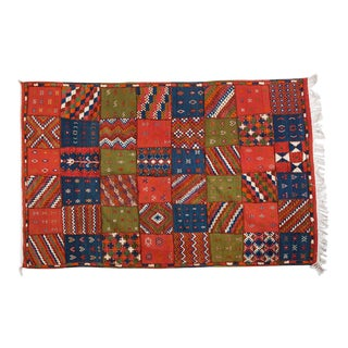 Berber Rug - Large Patchwork Handwoven Wool Design For Sale