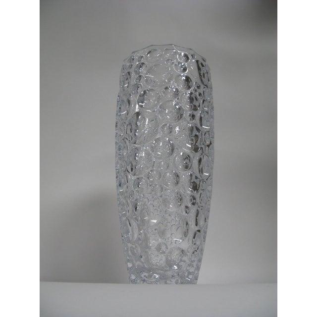 Contemporary 1990s Czech Vase Bubble Thumbprint Bohemia Glass For Sale - Image 3 of 10