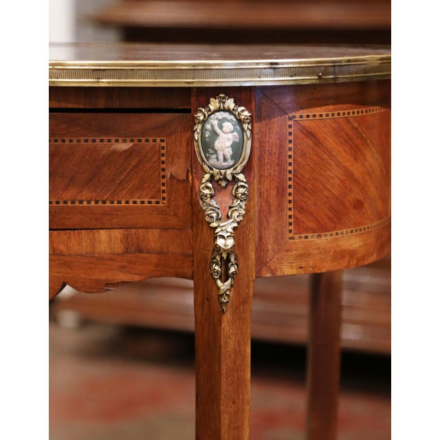 19th Century French Walnut Marquetry Side Table With Marble Top and Brass Rim For Sale - Image 4 of 8