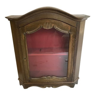 French Wood Glass Curio Display Cabinet W/ Key For Sale