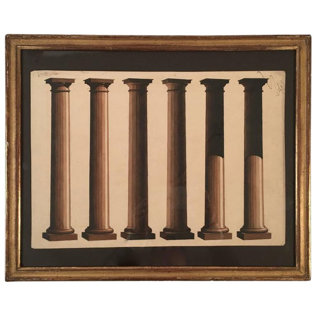 Neoclassical Architectural Watercolor Study of Shadows on Columns For Sale