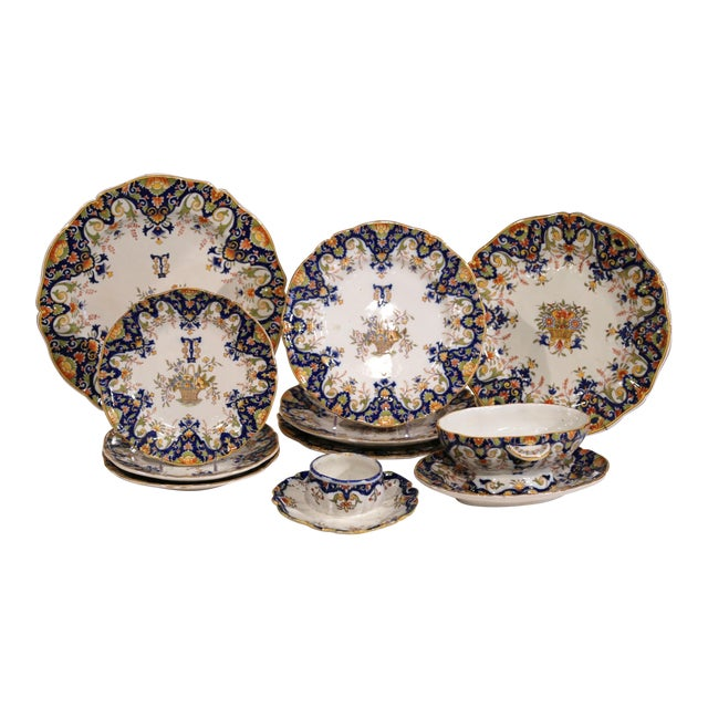 19th Century French Hand-Painted Plates and Dishes From Normandy - Set of 10 For Sale
