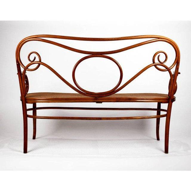 Gebruder Thonet Gebruder Thonet Viennese Secessionist Bentwood Settee Designed by August Thonet For Sale - Image 4 of 7