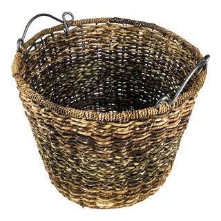 Vintage XL Metal Handle Multi Use Wicker Basket For Sale