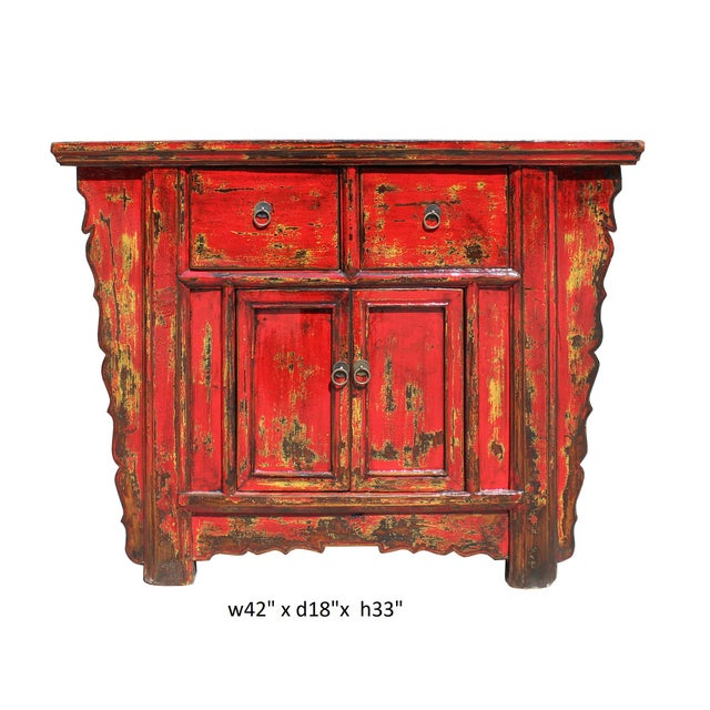 Chinese Rustic Rough Wood Distressed Red Side Table Cabinet For Sale - Image 9 of 9