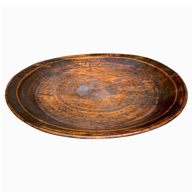 American Large 19th Century Antique Turned Wood Tray For Sale - Image 3 of 9