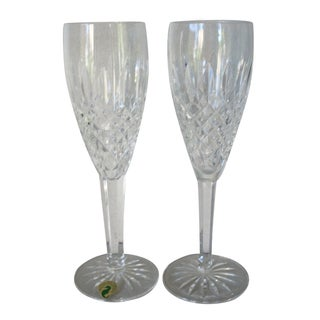 1980s Waterford Crystal Champagne Flutes - a Pair For Sale