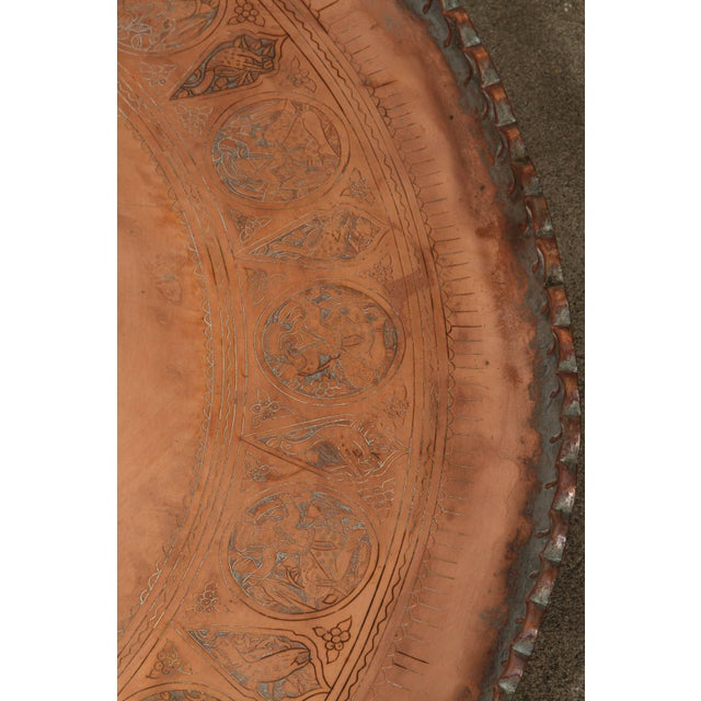 Large Persian Qajar Copper Tray For Sale In Los Angeles - Image 6 of 8
