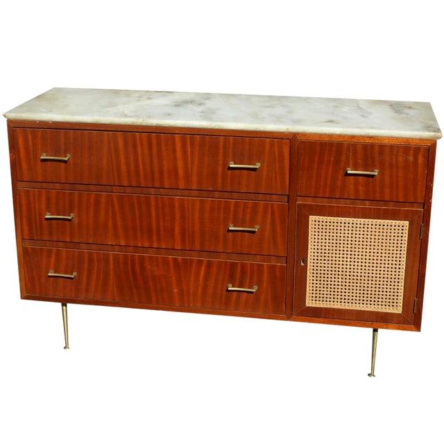 Vintage Cane Marble Dresser For Sale