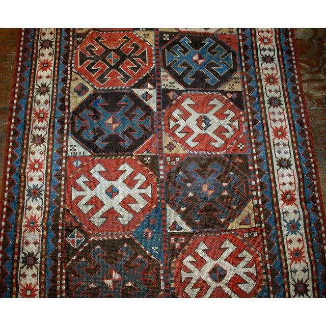 "Handmade Antique Caucasian Kazak Mohan Rug - 3'8"" X 8'2"" For Sale - Image 4 of 7"