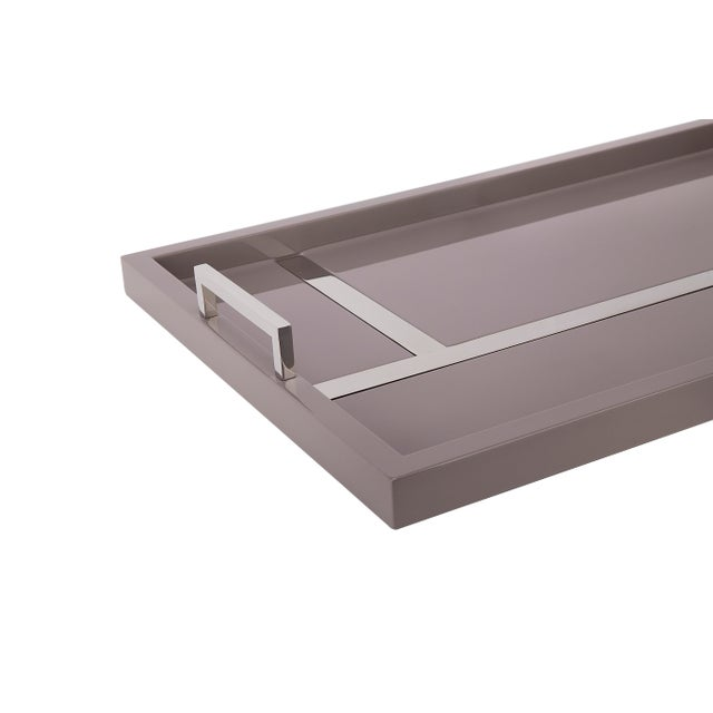 Contemporary Flair Home Collection Righe Tray in Taupe / Nickel For Sale - Image 3 of 4