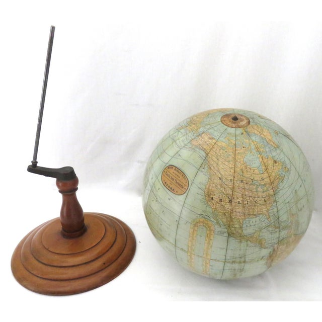 Metal Antique Rand McNally Twelve Inch Terrestrial Globe - Atlas For Sale - Image 7 of 13