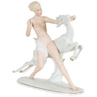 Art Deco Female Figure With Leaping Ibex Porcelain Statue by Wallendorfer For Sale