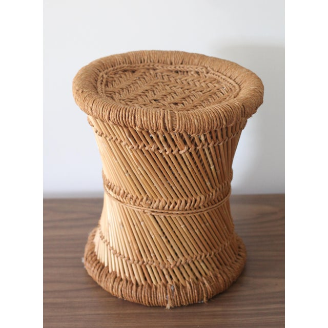 Boho Rattan Side Table with Woven Rope - Image 2 of 5