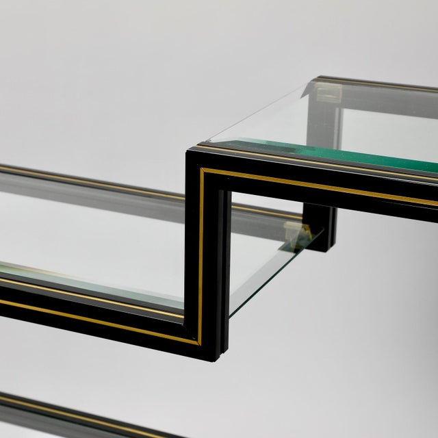 Gold Mid Century Pierre Vandel Black Lacquer and Brass Etagere with Glass Shelves For Sale - Image 8 of 9