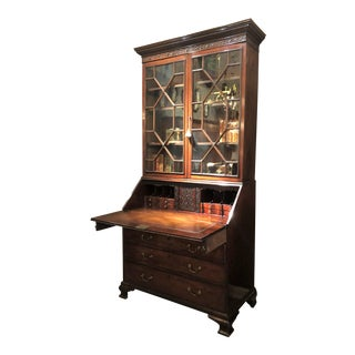 Antique Early 19th Century English Georgian Mahogany Secretary Bookcase. For Sale