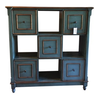 Boho Chic Olive & Brass Accent Cabinet For Sale