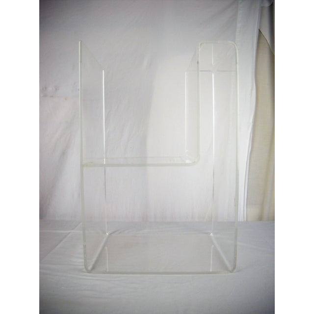 Mid 20th Century Large Lucite 2-Level Magazine Rack For Sale - Image 5 of 9