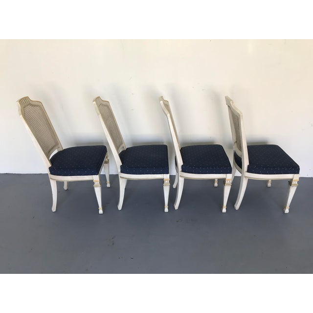 Caning 1970s Vintage Drexel Siena Furniture Italian Neoclassical Cane Back Dining Chairs- Set of 4 For Sale - Image 7 of 13