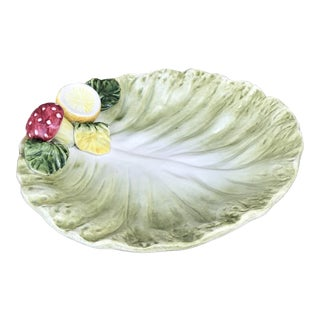 1940s Italian Majolica Cabbage Leaf Plate With Lemon & Mushroom For Sale