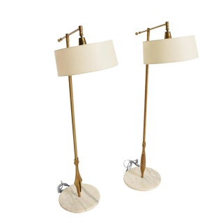 Rare Pair of Floor Lamps by Gerald Thurston With Original Shade and Marble Base For Sale