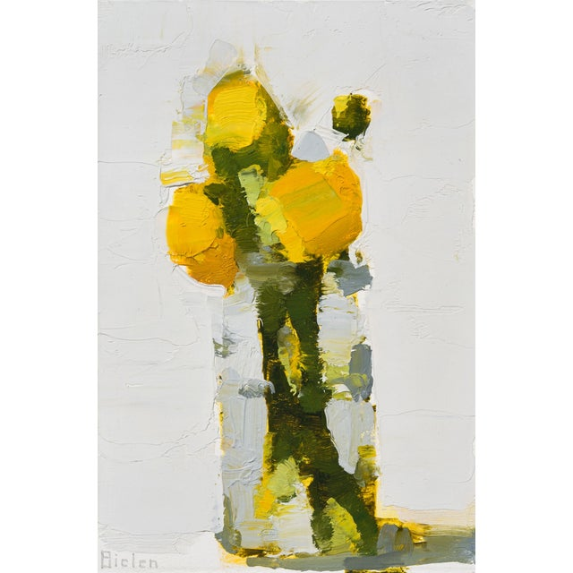 "Abstract Stanley Bielen ""Aglow"" Yellow Floral Still Life Painting on Paper For Sale - Image 3 of 3"