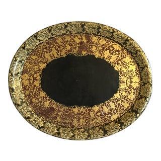 19th Century English Black Lacquer Papier Mache Tray For Sale