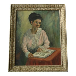"Vintage Mid Century Portrait of ""Woman Reading"" Painting by Fran E Green For Sale"