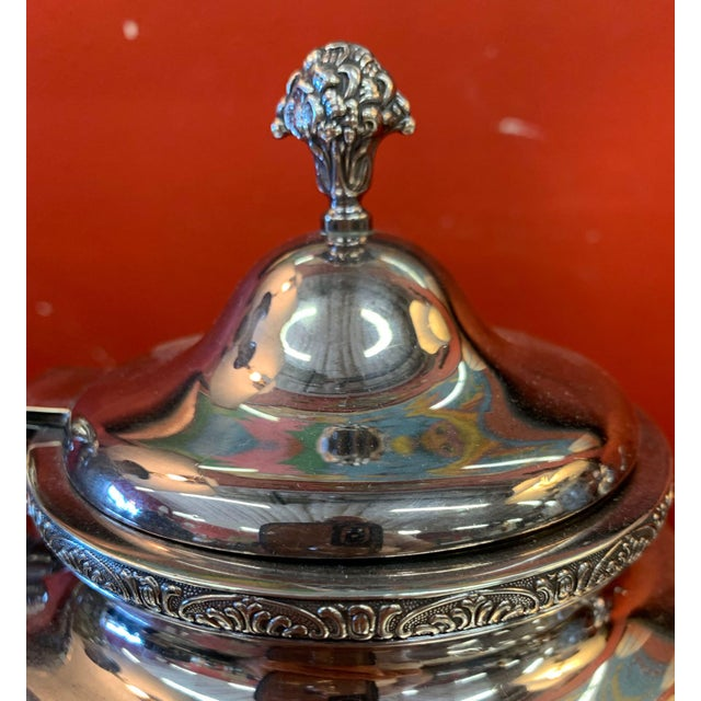 Silver Mid 20th Century Sterling Silver Tea Set With Tray .950/1000 - Set of 5 For Sale - Image 8 of 13