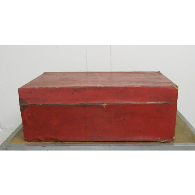 Red Antique Chinese Leather Trunk For Sale - Image 8 of 13