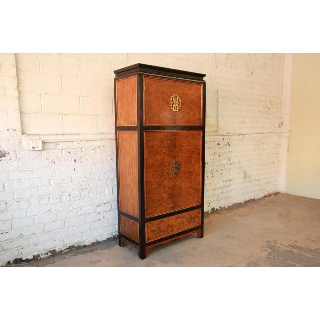 Century Furniture Black Lacquer & Burlwood Armoire - Image 2 of 11