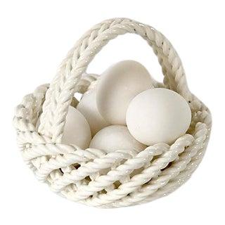 Italian Ceramic Basket W/Alabaster Eggs
