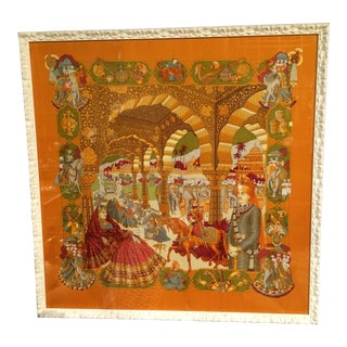 "Framed Hermes Scarf, ""The Splendor of India"""
