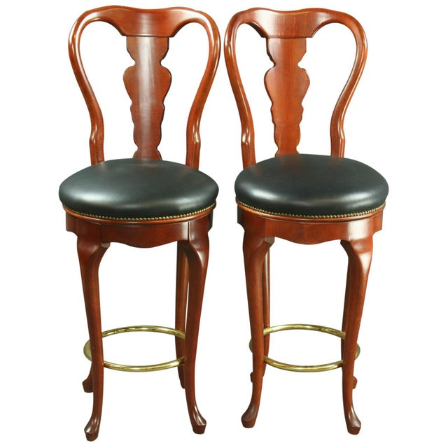 Queen Anne New Swivel Bar Stools - Pair - Image 1 of 6