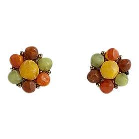 Kramer Orange & Green Button Earrings For Sale