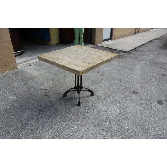 1920s 1920s French Country Cast Iron Base Walnut Top Dining / Bistro Table For Sale - Image 5 of 13