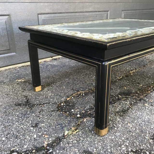 Baker Furniture Company Art Nouveau Ebonized and Gold Gilted Glass Top Coffee Table by Baker Furniture For Sale - Image 4 of 10