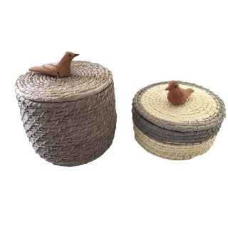 Mehinako Natural Fibre Boxes - a Pair Brazil For Sale