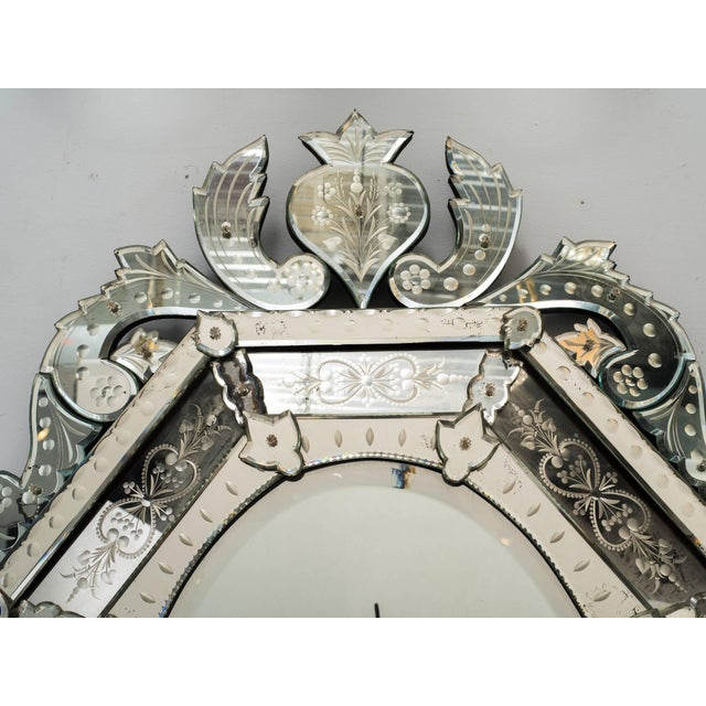 1930s Octagonal Venetian Mirror With Crown For Sale - Image 9 of 10