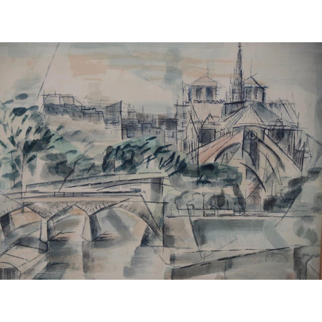"""Black 1954 """"Notre-Dame De Paris Cathedral"""" Watercolor Painting by Riva Helfond For Sale - Image 8 of 10"""