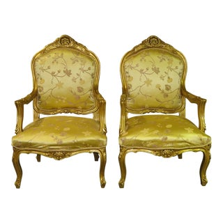 1980s Vintage French Renaissance Style Gold Accent Chairs- A Pair For Sale