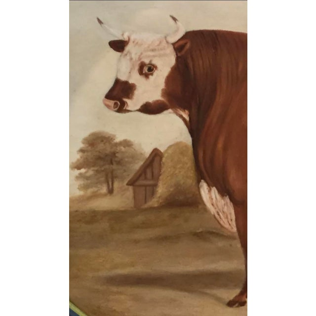 Cottage Original Bull in Landscape Hand Painted Tole Tray For Sale - Image 3 of 4
